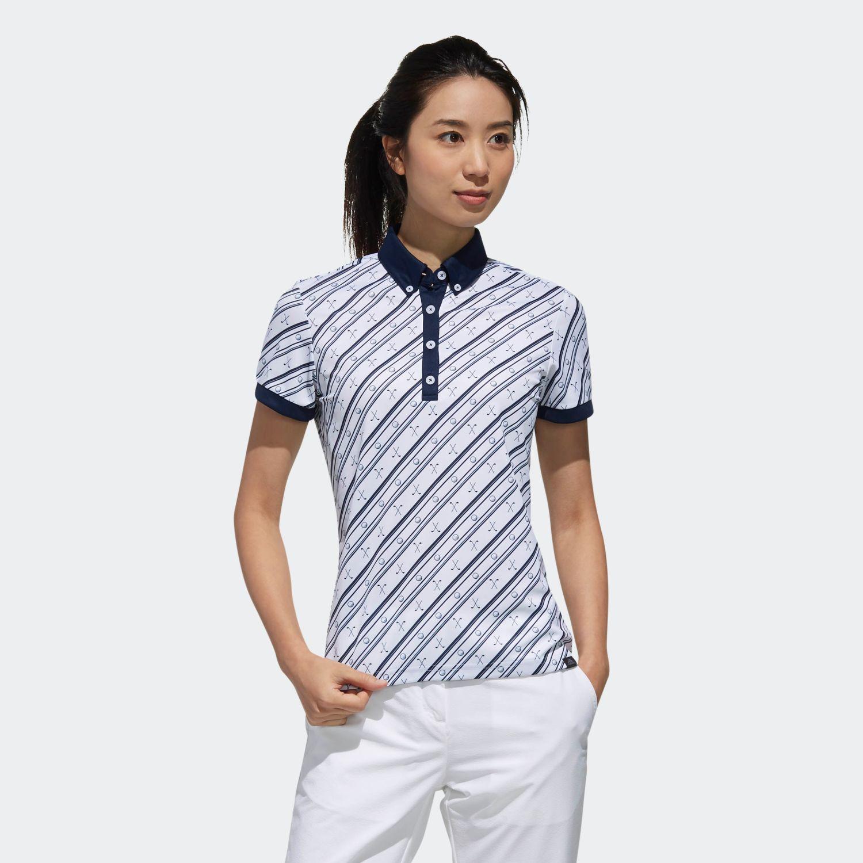 ADICROSS クラブプリント 半袖ボタンダウンシャツ 【ゴルフ】