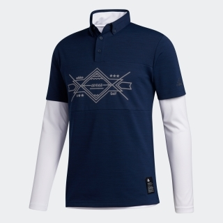 グラフィック レイヤードボタンダウンシャツ / Two-in-One Long Sleeve Polo Shirt