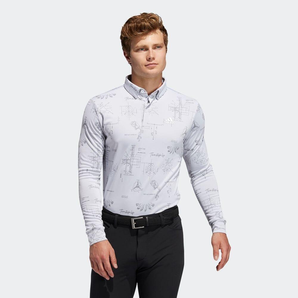 ヒストリカルパターン 長袖ボタンダウンシャツ / Allover Print Long Sleeve Polo Shirt