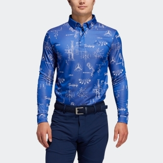 ヒストリカルパターン 長袖ボタンダウンシャツ 【ゴルフ】/ Allover Print Long Sleeve Polo Shirt