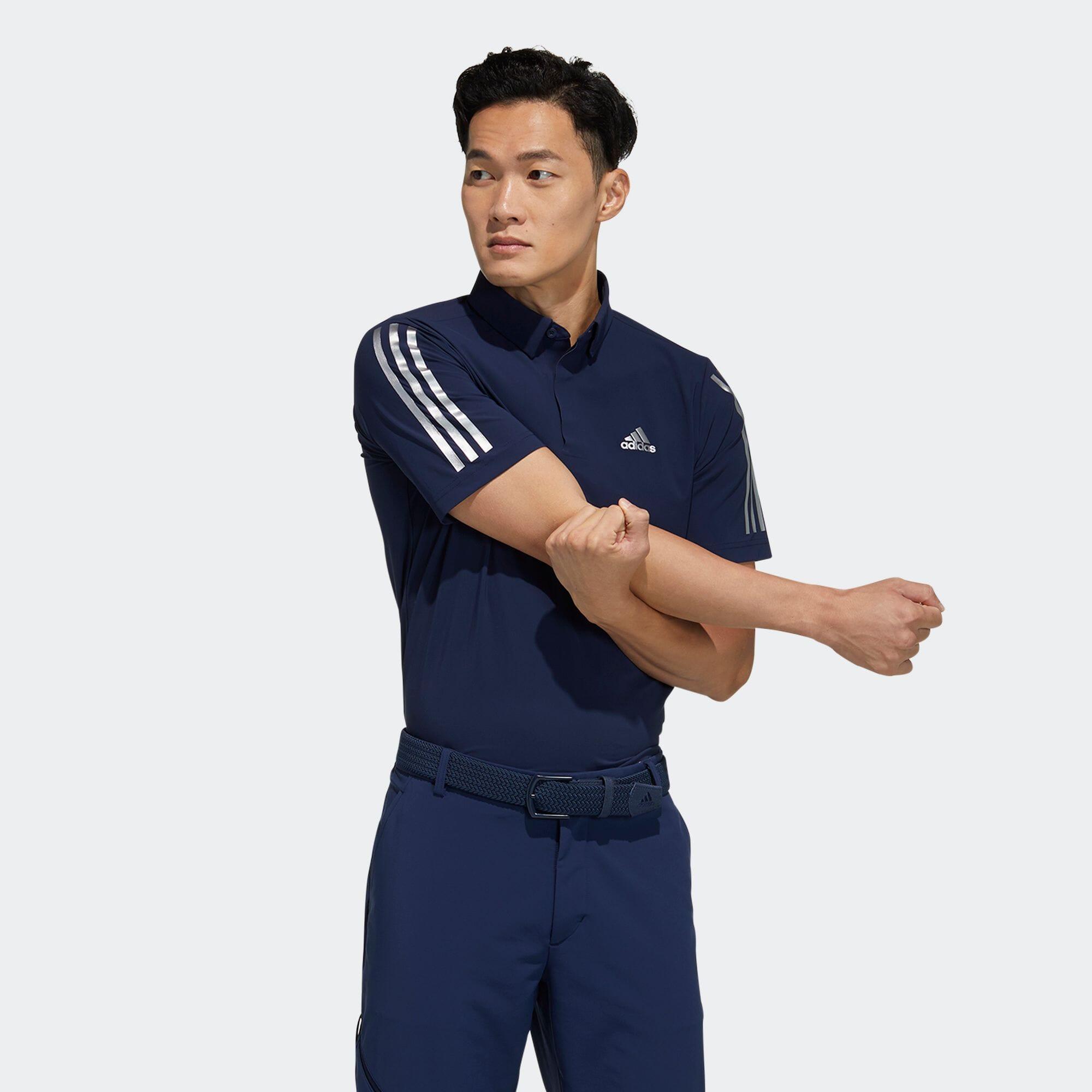 スリーブストライプス 半袖ストレッチボタンダウンシャツ / Polo Shirt
