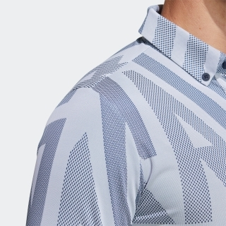 ADIDASジャカード 半袖ボタンダウンシャツ / Polo Shirt