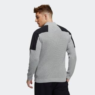 ショルダーパッチ ハーフジップ長袖ローゲジニットセーター