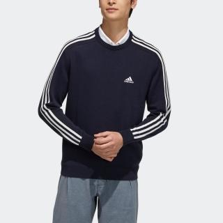 スリーストライプス 長袖クルーネックセーター