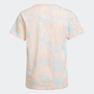 総柄プリント マーブル 半袖Tシャツ