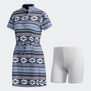 サッカープリント 半袖ドレス 【ゴルフ】